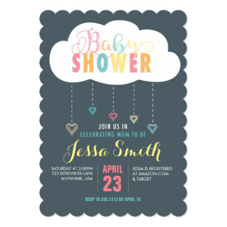 Clouds and Hearts Baby Shower Invitation