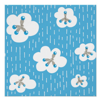 Clouds And Methane Molecules Blue Chemistry Geek Poster