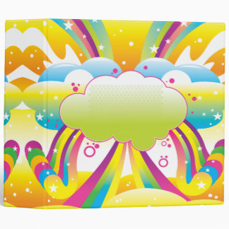 clouds and rainbow sky notebook binder
