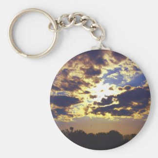 Clouds and Sun Basic Round Button Keychain
