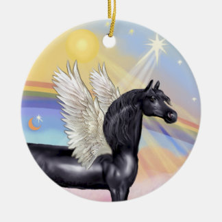 Clouds - Arabian Horse (black) Angel Ceramic Ornament