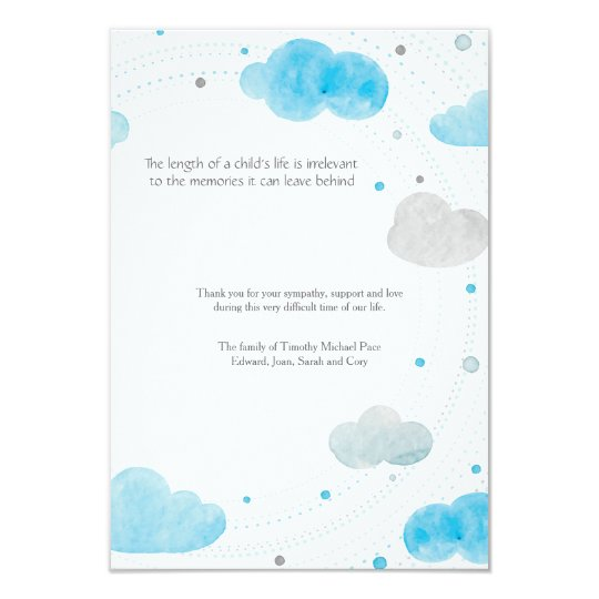 Clouds Bereavement Thank You Card