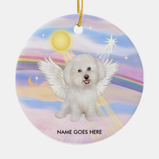 Clouds - Bichon Angel (#7), NAME GOES HERE Round Ceramic Ornament