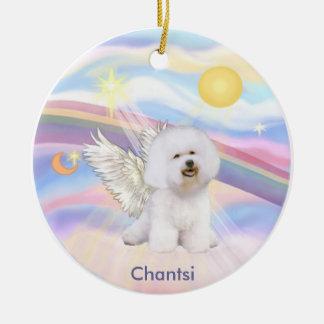 Clouds - Bichon Frise Angel Chantsi Round Ceramic Ornament