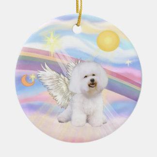 Clouds - Bichon Frise Angel Round Ceramic Ornament