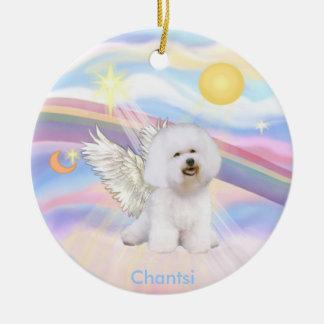 Clouds - Bichon Frise Angel - round, Chantsi Round Ceramic Ornament