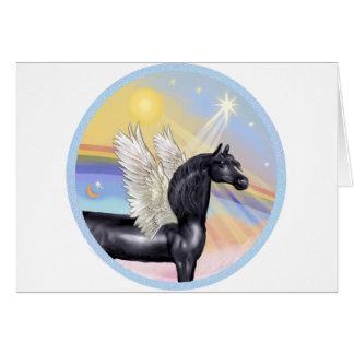 Clouds - Black Arabian Horse Angel Card