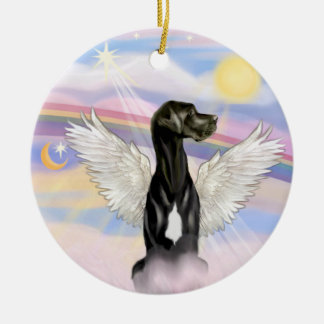 Clouds - Black Great Dane Natural ears Christmas Tree Ornaments
