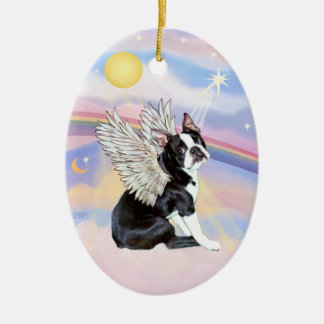 Clouds - Boston Terrier Angel Ceramic Oval Ornament