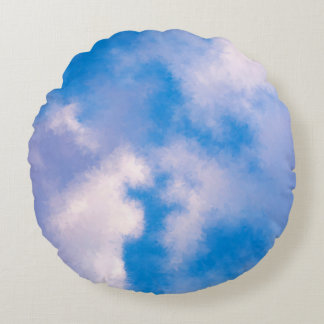 Clouds Brushed Polyester Round Throw Pillo Round Pillow