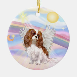 Clouds - Cavalier King Charles (blenheim) Round Ceramic Ornament