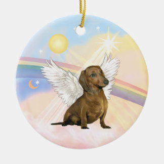 Clouds - Dachshund Angel (brown) Round Ceramic Ornament