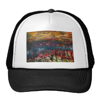 Clouds drifting over landscape trucker hat