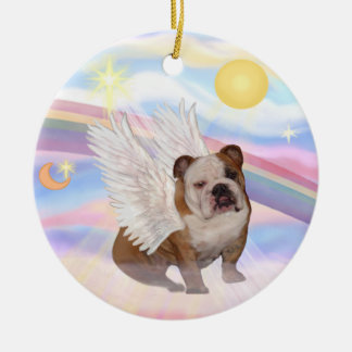 Clouds - English Bulldog Angel Round Ceramic Ornament
