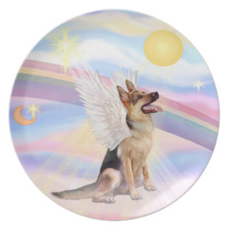 Clouds - German Shepherd Angel Plate