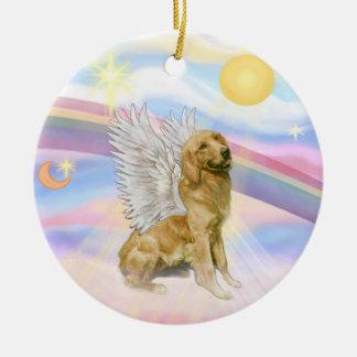 Clouds - Golden Retriever Angel (B1) Round Ceramic Ornament