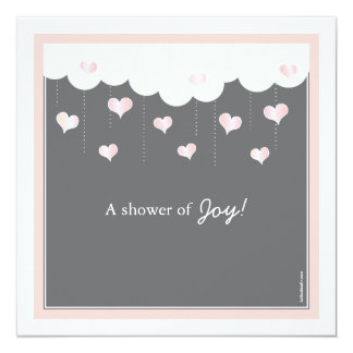 Clouds & Hearts Baby Shower for Girl Invitation
