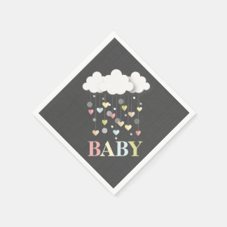 Clouds + Hearts Baby Shower Napkins Disposable Napkins