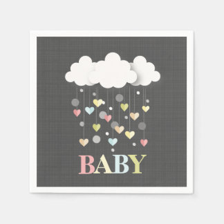 Clouds + Hearts Neutral Baby Shower Paper Napkins