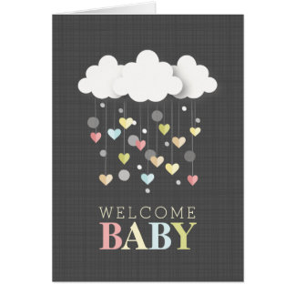 Clouds + Hearts Neutral Baby Shower Thank You Card