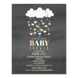 Clouds + Hearts Watercolor Neutral Baby Shower Card