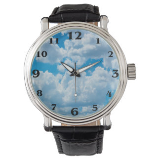 Clouds image for Custom-Black-Vintage-Leather Watch