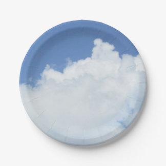 Clouds in Blue Sky Paper Plate