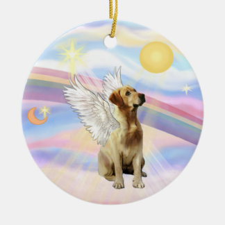 Clouds - Labrador (yellow) Round Ceramic Ornament
