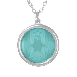 Clouds of Aqua Marine Soft Pastel Abstract Silver Plated Necklace