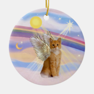 Clouds - Orange Tabby Tiger Cat Angel Round Ceramic Ornament