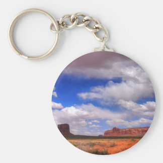 Clouds over the desert basic round button keychain