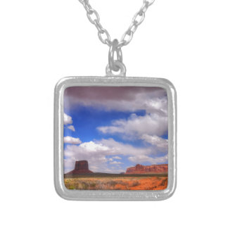 Clouds over the desert silver plated necklace