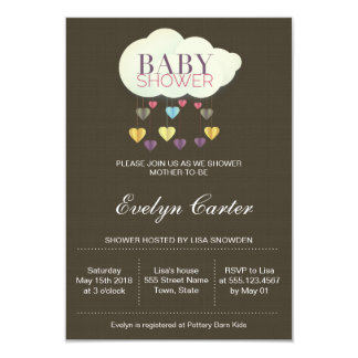 Clouds & Paper Hearts | Baby Shower Card