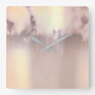 Clouds Rain Pearly Blush Pink Rose Gold Square Wall Clock