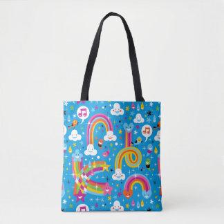 clouds rainbows rain drops hearts pattern tote bag