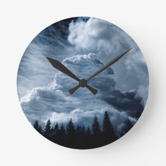 Clouds Temple Round Clock