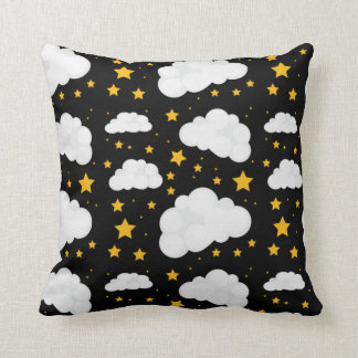 Clouds With A Bright Stary Night Throw Pillow