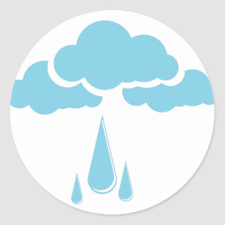 Clouds with drizzle classic round sticker