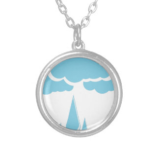 Clouds with drizzle silver plated necklace