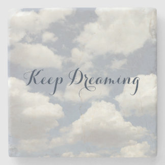 Cloudscape Typography Add your Text Summer Sky Stone Coaster