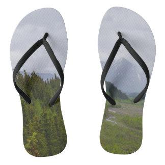 Cloudy At Denali Flip Flops