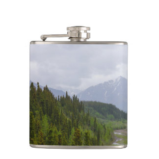 Cloudy At Denali Hip Flask