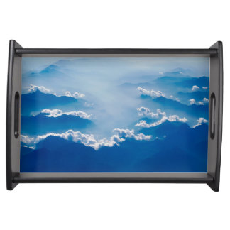 Cloudy Blue Mountains Serving Tray