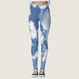 Cloudy Blue Sky Leggings Blue and White
