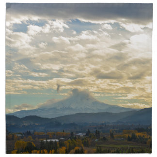 Cloudy Day over Mt Hood in Hood River OR Napkin