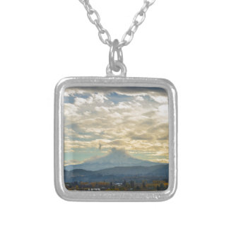 Cloudy Day over Mt Hood in Hood River OR Silver Plated Necklace