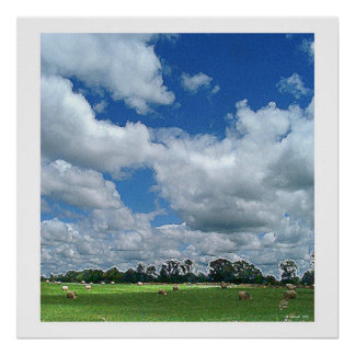 Cloudy Hay Field Poster