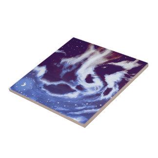 Cloudy Night Sky Tile Tiles