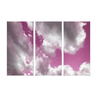 Cloudy Pink Sky Triptych Art Canvas Prints