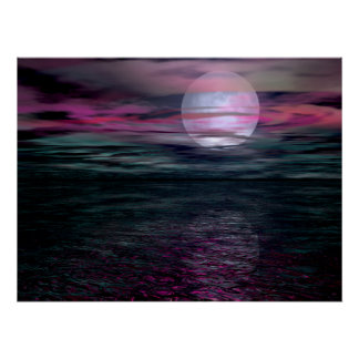 Cloudy Sky Ocean Moon Rise Poster